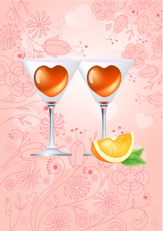 Two glasses of cocktail on pastel background Stock Vector - 7710702