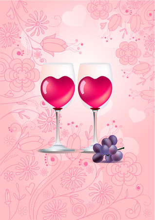Two glasses of wine on pastel background Vector
