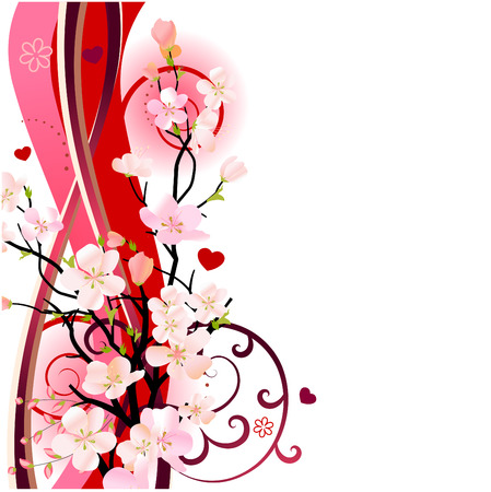 cherry blossoms: Blossoming tree design element Illustration