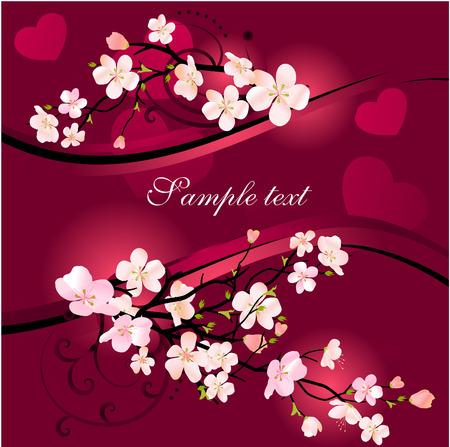 꽃이 만발한: Blossoming tree background 일러스트