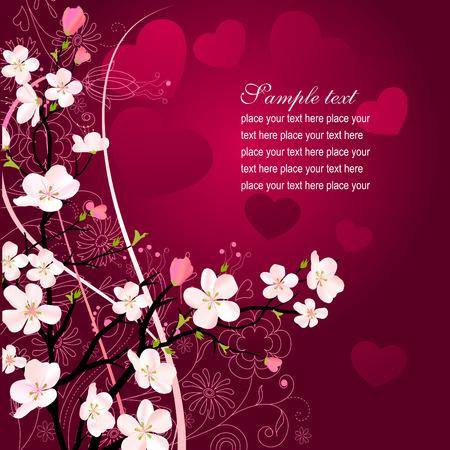japanese background: Blossoming tree background Illustration