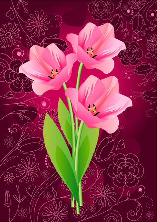 Three  tulips Vector