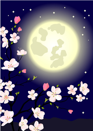 Blossoming apple tree at midnight Vector