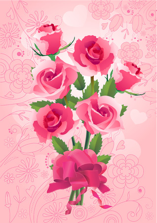 Bunch of roses on pink greeting card Stock Vector - 7710718