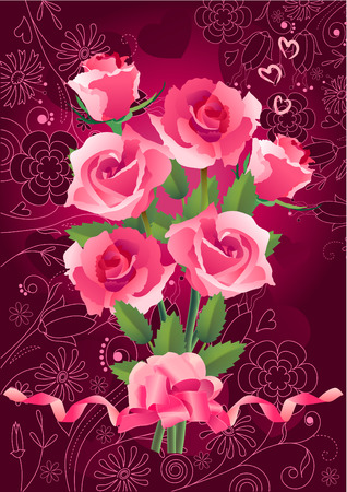 Bunch of roses on red greeting card Stock Vector - 7710719