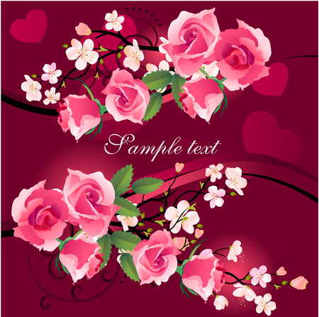 Bunch of roses on red greeting card Vector