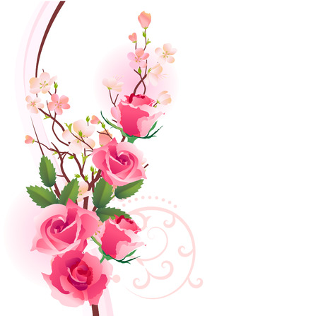 flower clip art: Design element with bunch of roses