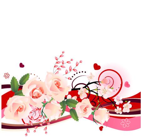 mujer con rosas: Elemento de dise�o con un mont�n de rosas