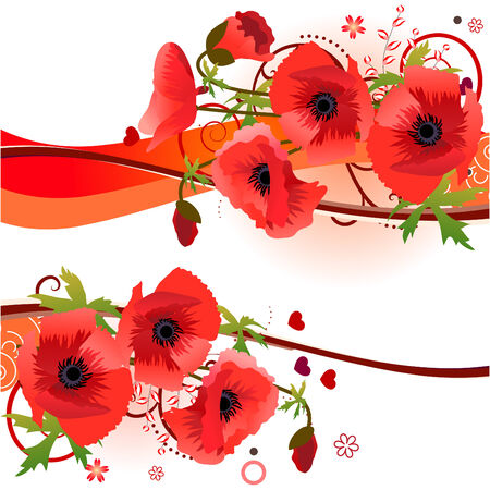 Design element with bunch of poppies Illustration