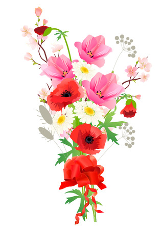 Bunch of summer flowers  Vector