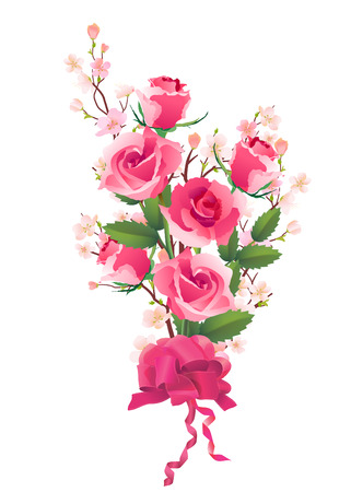 Bunch of roses and apple flowers  Vector