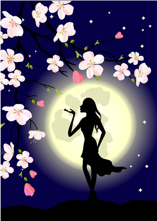 blossoming tree, woman and moon  Vector