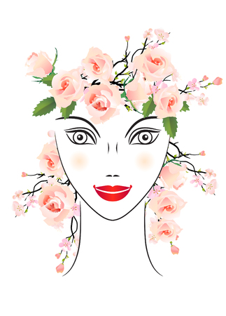 rosa: Floral woman with roses in her hair