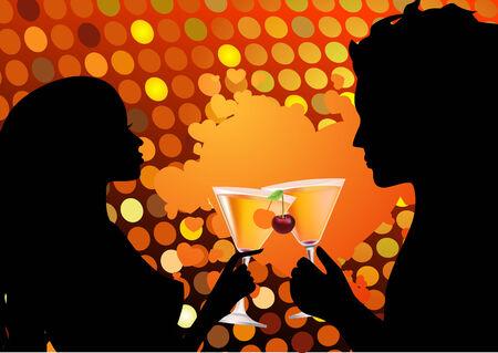 woman drinking wine: Couple drinking cocktail  Illustration
