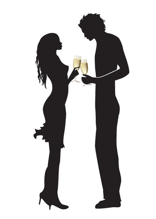 rendezvous: Couple drinking champagne isolated