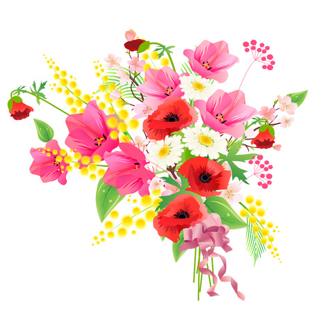 Flower bunch with ribbon  Vector