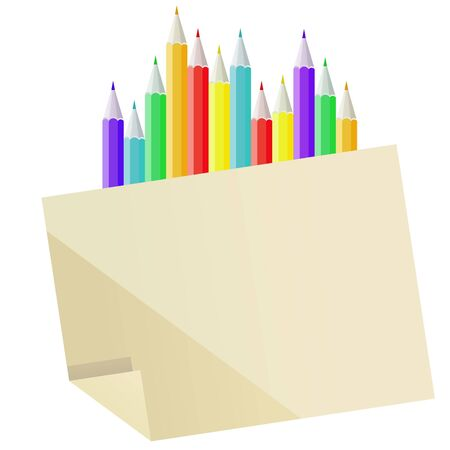 Blank paper and many-coloured pencils  Vector