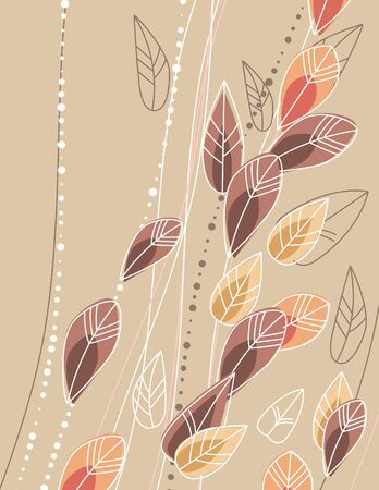 Beige background with contour leaves Stock Vector - 8380146