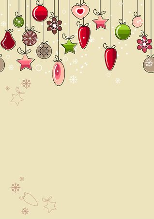 clip art draw: Christmas background with contour balls