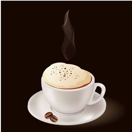 capuchino: Taza de caf� caliente