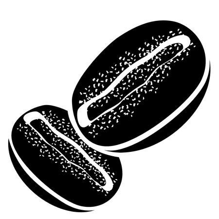 coffee beans: Granos de caf� en blanco y negro Vectores