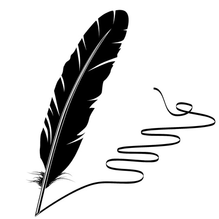 a feather: Black-and-white feather and flourish Illustration