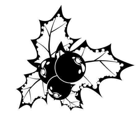 Baya de acebo de blanco y negro Vectores