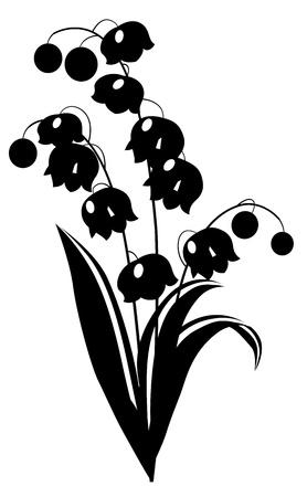 Blanco y negro lirio de los valles Vectores