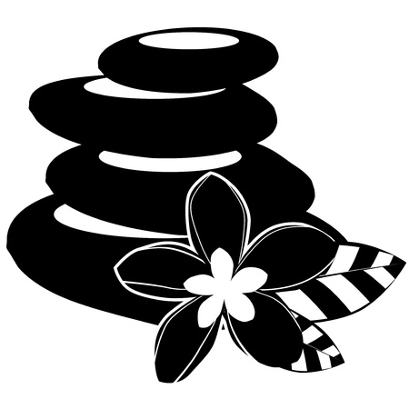 spa stones: Black-and-white spa stones and flowers isolated