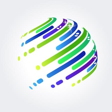intercommunication: Abstract ball made of stripes Illustration