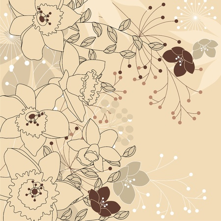 flower line: Stylish floral light beige background  Illustration