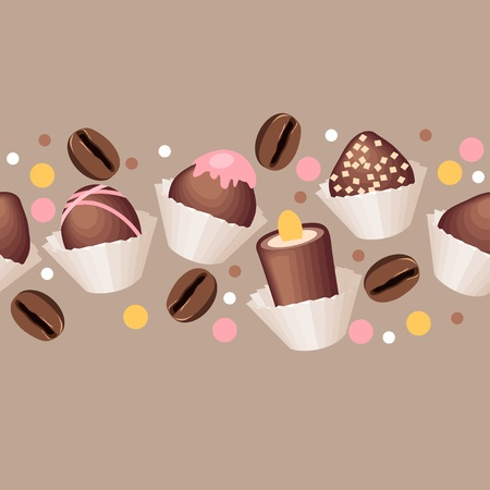 Seamless pattern with chocolate sweets  Vector