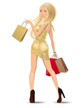 mujeres fashion: Hermosa rubia llevando bolsas