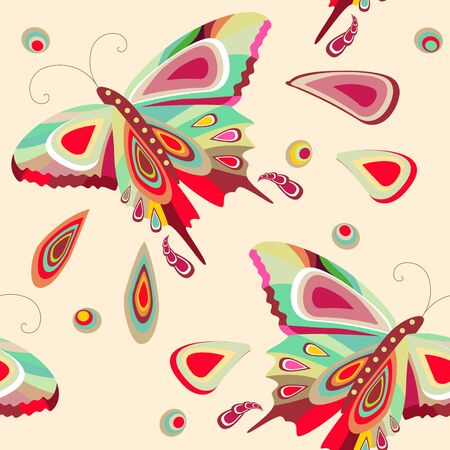 Seamless pattern with bright stylized butterflies  Vector