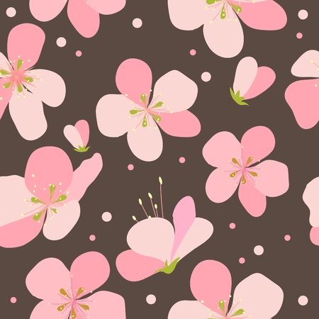 Seamless floral pattern with pink cherry flowers  Vector
