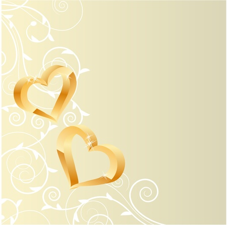 Pastel ornate background with two gold hearts  Vector