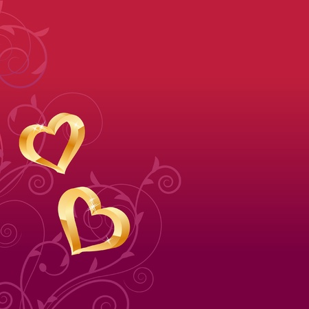 Dark red background with two gold hearts  Stock Vector - 8454317