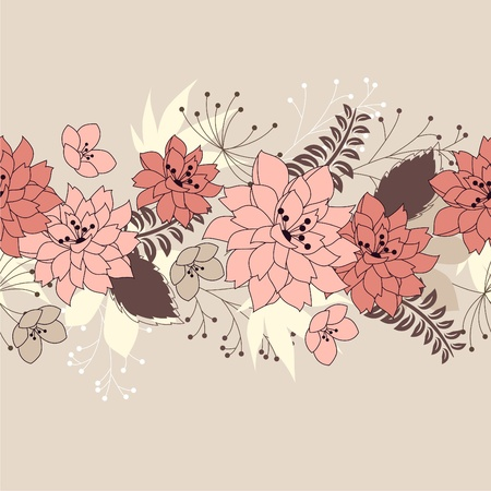 horisontal: Seamless horisontal floral pink pattern