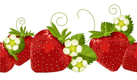 Seamless border with strawberries Vector