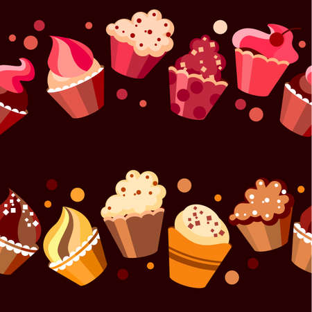 kitchen tile: Two seamless cupcake borders Illustration