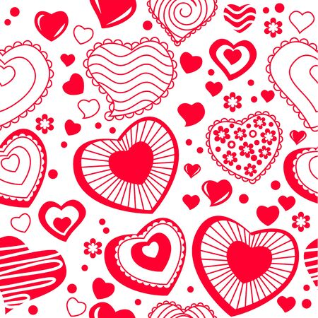 Seamless pattern with red contour shapes Vector