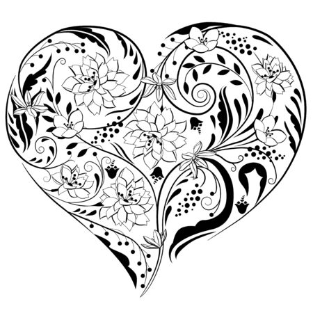 passion flowers: Heart shape made of flowers Illustration