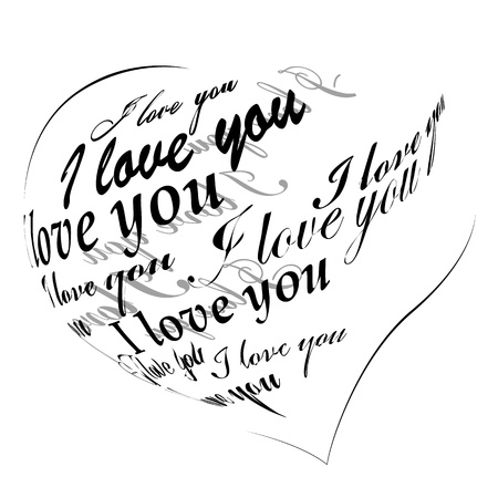 phrases: Heart made of I love you phrase