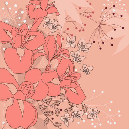 Floral background with irises Vector