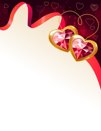 saint valentines: Red background with ribbon and gems Illustration