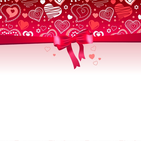 Pink frame with bow and hearts Vector