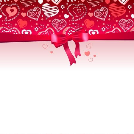 uitnodigen: Roze frame met boog en harten Stock Illustratie