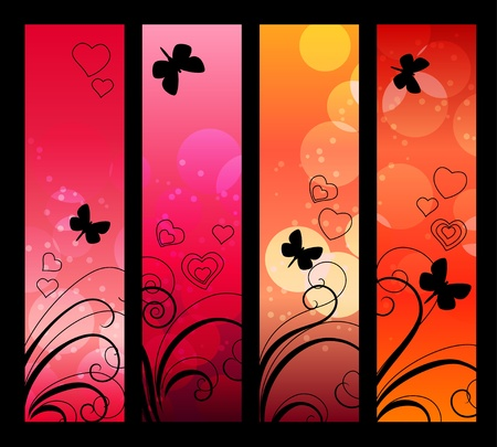 Banners, headers with abstract lights.  Vector