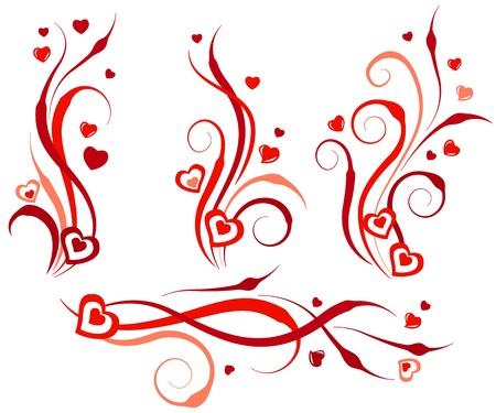 red swirl: Elementi di design floral swirl con cuori Vettoriali