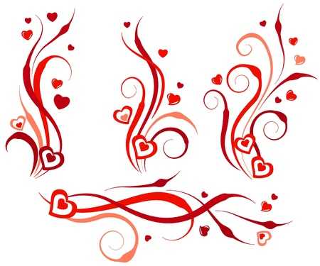 Floral swirl design elements with hearts Stock Vector - 8584436